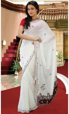 Butta White Embroidered Saree #Indian-DesignerSarees #Cotton-Sarees