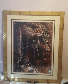 VERY LARGE MOUNTED & FRAMED PRINT - HOMME PEUL - PRE-OWNED - FULANI MAN
