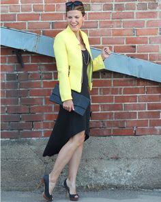 Yellow tweed jacket + high low dress    http://marionberrystyle.blogspot.com
