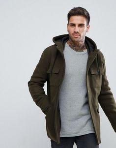Nice style detaild. Wool Jacket With Hood And Double Pocket In Khaki by Bershka
