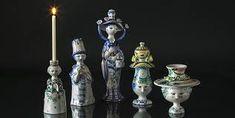 Bjorn Wiinblad design and ceramic art and craft of Danish blue, white and multi colour figurines Branding, Ceramic Art, Candle Holders, Arts And Crafts, Ceramics, Design, Danish, Illustration, Vintage