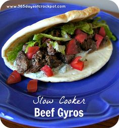 Slow Cooker (Crock Pot) Beef Gyros with Tzatziki Sauce...easy and so yummalicious.  This is a good recipe to make if you're going to be gone all day.