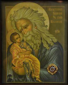 St Simeon with Baby Jesus Orthodox Catholic, Orthodox Christianity, Catholic Art, Byzantine Icons, Byzantine Art, Religious Icons, Religious Art, Saints, Religion Catolica