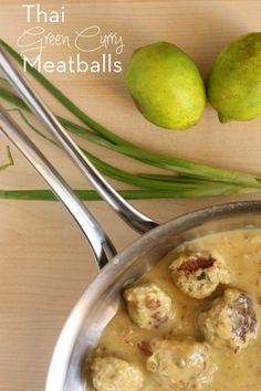 Thai Green Curry Meatballs -- a quick easy weeknight dinner. These are the best meatballs I've ever made.
