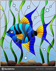 Illustration about Illustration in stained glass style blue fish scalar on the background of water and algae. Illustration of bubble, part, scalar - 113474031 Stained Glass Paint, Stained Glass Designs, Stained Glass Panels, Stained Glass Projects, Stained Glass Patterns, Mosaic Art, Mosaic Glass, Glass Art, Glass Painting Designs