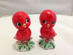 Vintage Lefton Norcrest Red Bird Salt Pepper Shakers On a Branch