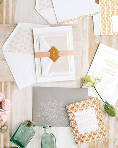 Romantic Modern Blush and Gold #Wedding Invitations