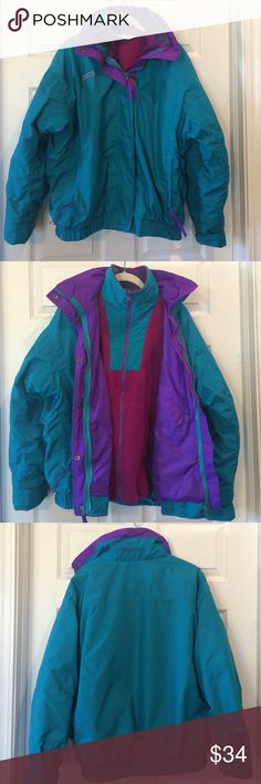 """Vintage Columbia Bugaboo 3 in 1 Coat This coat is so versatile and warm!  Vintage Columbia Bugaboo in teal, purple, and magenta. The fleece lining zips out so you can wear just the fleece, just the outer windbreaker, or both pieces together!  This is in great vintage condition with no holes or stains. The zippers are all fully functioning. Measures 24"""" armpit to armpit and 25"""" shoulder to hem. This has been freshly washed and is ready to go! Columbia Jackets & Coats"""