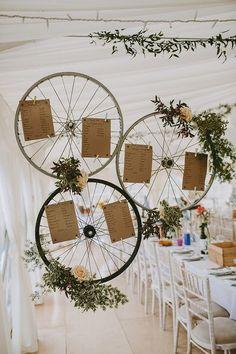 Bike Bicycle Wheel Seating Table Plan Chart Beautiful Bohemian Beach Glamping Wedding http://www.thecurries.co/
