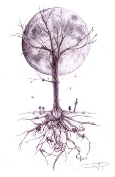 I really love this. Takes a lot of imagery I love- the tree with the root structure, the moon in the background. I can just see a white peacock flying under the moon