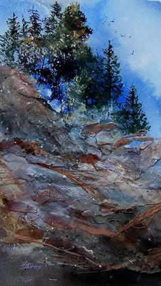 Mixed-media Artist Helen Harris: Landscapes of Layered Paper Untitled Painting by Helen Harris Collage Landscape, Abstract Landscape Painting, Watercolor Landscape, Acrylic Painting Canvas, Watercolor And Ink, Landscape Paintings, Landscape Quilts, Watercolor Painting, Collage Art Mixed Media
