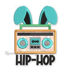 Hip Hop Radio Boom Box With Bunny Ears Applique Machine Embroidery Design