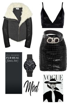 """Monochrome Masterpiece"" by nevedrumm on Polyvore featuring Yves Saint Laurent, Boohoo and Salvatore Ferragamo"