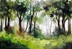 ORIGINAL Watercolor Painting Forest Landscape In by ArtCornerShop