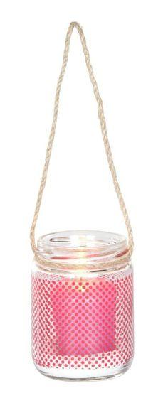 Glazen windlichtje met rode stippen ♥♡♥ leuk om te hebben