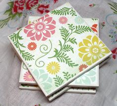 Hey, I found this really awesome Etsy listing at https://www.etsy.com/listing/180721706/flower-ceramic-coasters-set-of-4