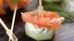 Bocadillos de salmón ahumado con queso crema
