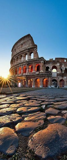 This is The Colosseum in Rome and a landmark feature of the city. It represents violence and serenity all in one graphic.