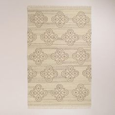One of my favorite discoveries at WorldMarket.com: 5'x8' Medallion Natural Flat-Woven Wool Rug