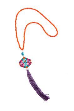 beaded kite tassel necklace
