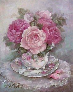 Teacup and Roses - Debi Coules Romantic Art Pintura Shabby Chic, Shabby Chic Painting, Flower Images, Flower Art, Romantic Roses, Rose Art, Vintage Flowers, Pink Roses, Beautiful Flowers