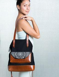 Noujica leather canvas bag