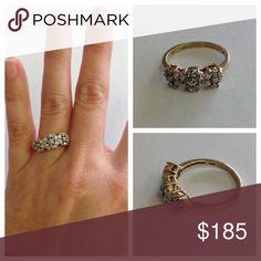 Vintage 10K Gold Diamond Flower Ring Vintage 10K Gold Diamond Flower Ring. Size 8 1/2. Marked 10K. 10K Gold Jewelry Rings