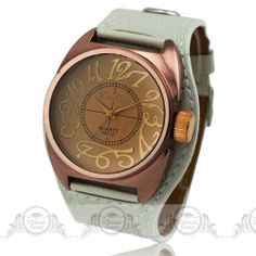 2013 Super Fashion ladies quartz watch Brown Coated Glass Window Artistic Arabic Number Dial Wide PU Bracelet Band watch women $7.99