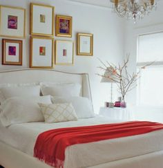 frames above bed...