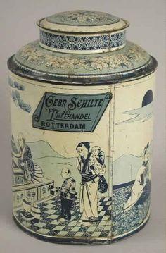 """Theeblik met """"Gebr. Schilte - Theehandel - Rotterdam"""""""