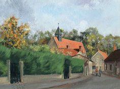 Le village d'Ognon. Peinture à la gouache de Guillaume Le Baube. art. oise. painting. french painter.