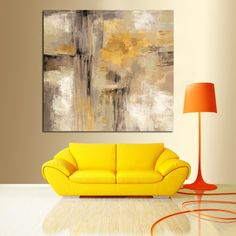 HD Print Yellow Gray Abstract Oil painting on Canvas Scandinavian Art Poster Wall Picture for Living Room Sofa Home Decoration Kids Room Wall Stickers, Wall Stickers Murals, Yellow Painting, Oil Painting Abstract, Oil Paintings, Painting Canvas, Painted Sofa, Hand Painted, Scandinavian Art