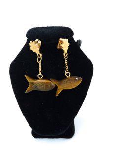 Tigers Eye Fish Earrings by BonniesVintageAttic on Etsy, $29.95