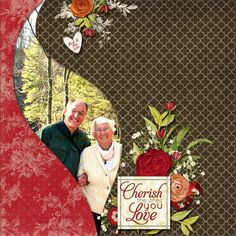 """Cherish The Ones You Love"" Scrapbooking Page...using a swirled flame template.  Dolores Schaeffer - Ideas For Scrapbookers."