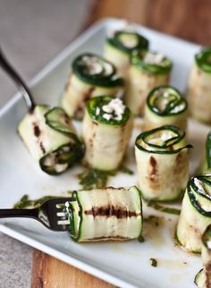 Zucchini Bites with Harissa, Goat Cheese, Lime & Mint >> Blogging Over Thyme