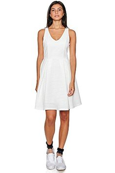 Womens Fashion Solid Fit Flare Sleeveless Silhouette Overlay Dress USA D176 M >>> Visit the image link more details.