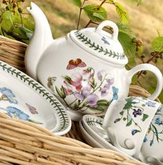 Portmeirion I love this stuff .. especially the Botanicals range ... I broke my teabag holder recently :(