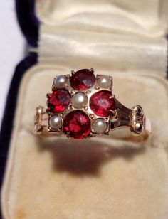 Victorian 10K Gold Garnet & Seed Pearl Ring Seed Pearl Ring, Class Ring, Antique Jewelry, Garnet, Jewerly, Jewelry Rings, Seeds, Sparkle, Jewelry Making