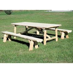 Cedar Lake Log Picnic Table Set with Log Bench Seating picnic tables Cedar Lake Log Picnic Table & Bench Set Picnic Table Bench, Log Table, Table And Bench Set, Trunk Furniture, Cedar Furniture, Rustic Furniture, Outdoor Furniture, Used Woodworking Tools, Woodworking Logo