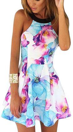 Fancyinn® Women Sexy Halter Neck Floral Print Backless Beach Skater Mini Dress M