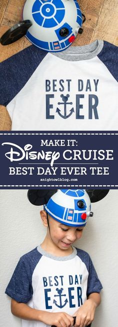 Perfect for embarkation day on a Disney Cruise, whip up a DIY Disney Cruise Best Day Ever T-Shirt with an adorable Mickey anchor design! #Disney #DisneyCruise #DisneySMMC