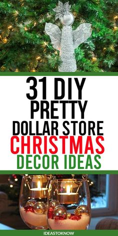 31 dollar store Christmas decor ideas to DIY. Amazing dollar store decor ideas for Christmas with items easy to find at dollar store. These DIY Christmas ideas are so easy and fun that you can have a little chit chat session with your loved ones while making them. #dollarstore #christmasdecor #chistmasideas @ideastoknow Dollar Tree Christmas, Christmas Hacks, Homemade Christmas Gifts, Christmas Holidays, Christmas Ornaments, Crochet Christmas Decorations, Holiday Decorations, Holiday Crafts, Holiday Ideas