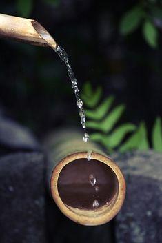 Little Miss Love — Shishi-Odoshi, Bamboo Water Fountain, Japanese. Wabi Sabi, Japan Kultur, Bamboo Water Fountain, Japan Garden, Buddha Zen, Zen Meditation, Japanese Culture, Water Features, Beautiful