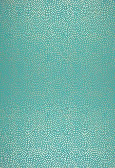 Mosiac Aqua wallpaper from Schumacher. This geometric design was inspired by a Roman tiled wall design which is interpreted in a modern way. Its allover patterning and medium scale make this a perfect wallcovering for bathrooms or other smaller spaces. Its colorations are offered in a range of metallic gold, silver and white against grounds of brilliant turquoise, spa blue, bone and white.