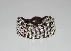 women leather bracelet,original design, Zamak beads bracelet, hand made bracelet,uno no de 50 style by OtroAccesorio on Etsy