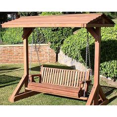 wooden outdoor swings | Redwood Outdoor Four Foot Porch Swing
