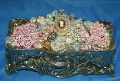 Vintage Embellished Jewelry Box Pink Rhinestones by KatsCollection, $124.99