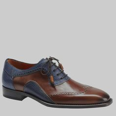 Mezlan Men's Conil Cognac & Blue Calfskin Bal Oxfords Material: Beautiful Combination Of Smooth And Embossed Hand Burnished Calfskin Hardware: None Color: Cognac / Blue Outer Sole: Full Leather Sole Insole: Injected Memory Foam Cushioned Insol Mens Shoes Boots, Men's Shoes, Shoe Boots, Sock Shoes, Formal Shoes, Casual Shoes, Mezlan Shoes, King Shoes, Oxfords
