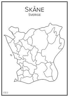 Skåne. Sweden. Map. City print. Print. Affisch. Tavla. City Maps, My Heritage, Finland, City Print, Print Print, Creative Design, Norway, Scandinavian, Around The Worlds