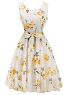 Retro Belted High Waisted Floral Print Tea Dress - WHITE 2XL